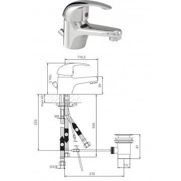 Waschtisch-EHM Niederdruck DN 15